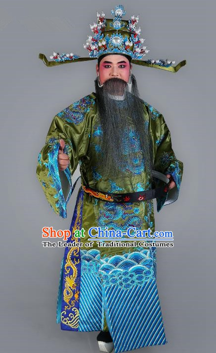 Chinese Beijing Opera Bao Zheng Costume Green Embroidered Robe, China Peking Opera Prime Minister Embroidery Gwanbok Clothing