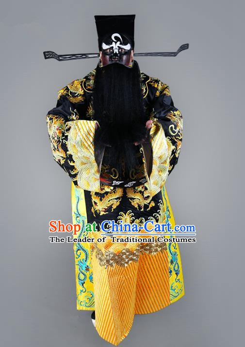 Chinese Beijing Opera Bao Zheng Costume Black Embroidered Robe, China Peking Opera Prime Minister Embroidery Gwanbok Clothing