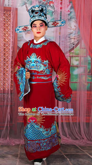 Chinese Beijing Opera Niche Costume Red Embroidered Robe, China Peking Opera Lang Scholar Embroidery Gwanbok Clothing
