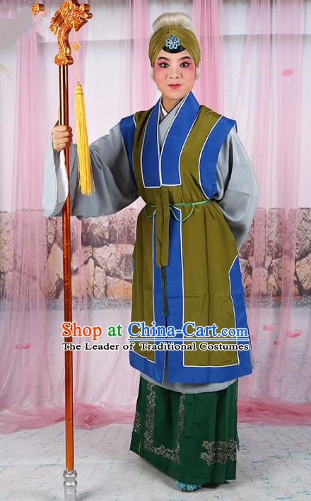 Chinese Beijing Opera Old Women Costume Embroidered Cape, Traditional China Peking Opera Pantaloon Embroidery Clothing