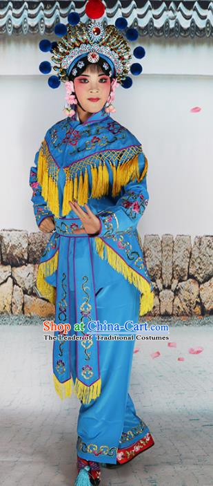 Chinese Beijing Opera Actress Warriors Embroidered Blue Costume, China Peking Opera Blues Embroidery Clothing