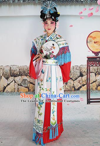 Chinese Beijing Opera Actress Nobility Lady Embroidered White Costume, China Peking Opera Princess Embroidery Clothing