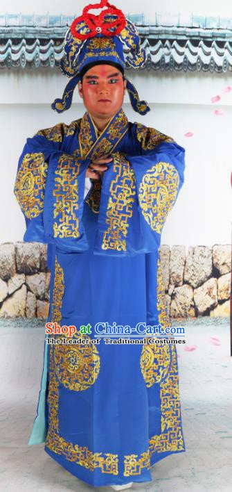 Chinese Beijing Opera Niche Costume Blue Embroidered Robe, China Peking Opera Scholar Embroidery Gwanbok Clothing