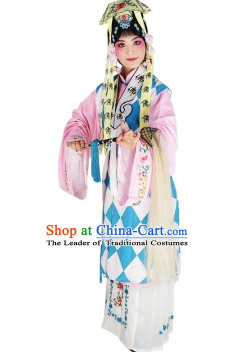 Chinese Beijing Opera Taoist Nun Costume, China Peking Opera Young Lady Embroidery Clothing