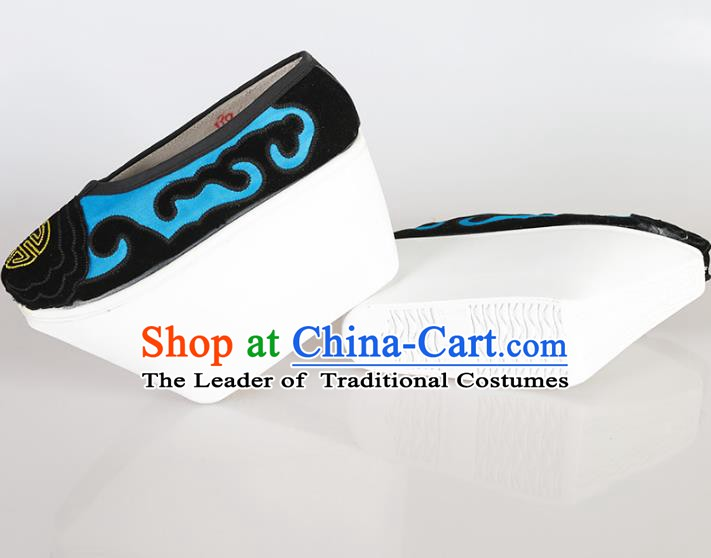 Asian Chinese Beijing Opera Niche Embroidered Shoes, Traditional China Peking Opera Young Men Hanfu Shoes