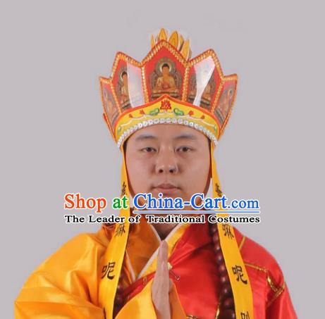 Asian Chinese Beijing Opera Buddhism Hat, Traditional China Peking Opera Monks Headwear