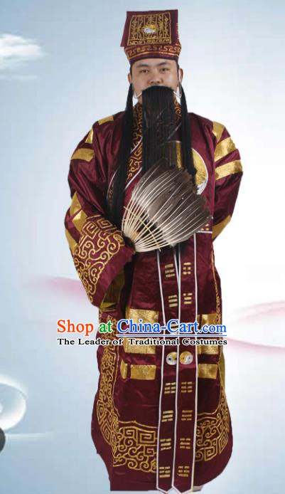 Chinese Beijing Opera Priest Frock Costume, China Peking Opera Zhuge Liang Clothing
