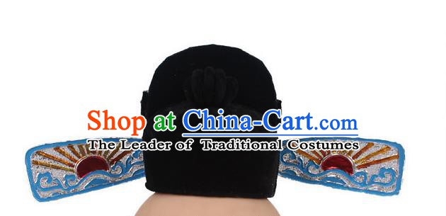 Asian Chinese Beijing Opera County Magistrate Hats, Traditional China Peking Opera Lang Scholar Headwear