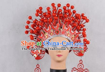 Asian Chinese Beijing Opera Imperial Empress Red Phoenix Coronet, Traditional China Peking Opera Actress Bride Headwear