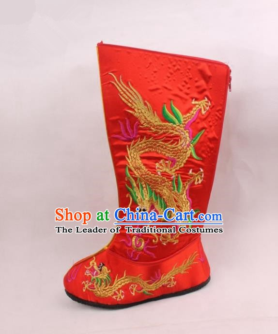 Asian Chinese Beijing Opera Niche Embroidered Dragon Shoes, Traditional China Peking Opera Young Men Hanfu Red Boots