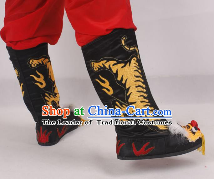 Asian Chinese Beijing Opera Takefu Embroidered Tiger Shoes, Traditional China Peking Opera Young Men Hanfu Black Boots