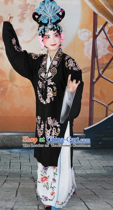 Chinese Beijing Opera Actress Costume Black Embroidered Cape, China Peking Opera Princess Young Lady Embroidery Clothing