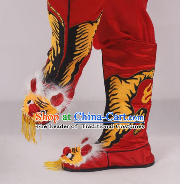 Asian Chinese Beijing Opera Takefu Embroidered Tiger Shoes, Traditional China Peking Opera Young Men Hanfu Red Boots