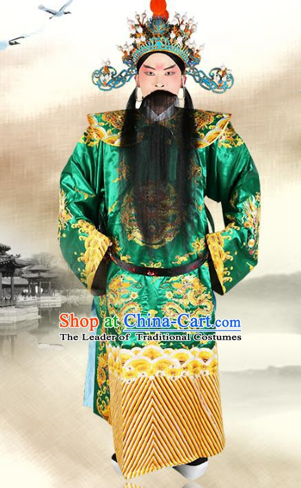 Chinese Beijing Opera Royal Highness Costume Green Embroidered Robe, China Peking Opera Prime Minister Embroidery Gwanbok Clothing