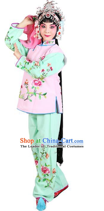 Chinese Beijing Opera Servant Girl Embroidered Pink Costume, China Peking Opera Actress Embroidery Clothing