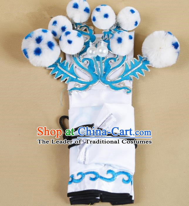 Asian Chinese Beijing Opera Takefu White Hats, Traditional China Peking Opera Martial Role Headwear