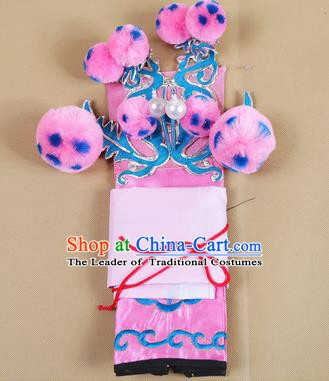 Asian Chinese Beijing Opera Takefu Pink Hats, Traditional China Peking Opera Martial Role Headwear