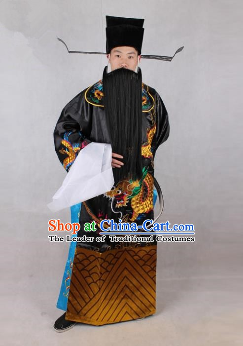 Chinese Beijing Opera Bao Zheng Costume Embroidered Robe, China Peking Opera Prime Minister Embroidery Black Gwanbok Clothing