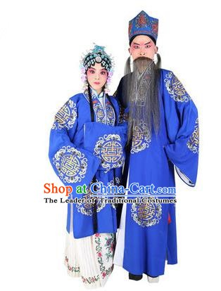 Chinese Beijing Opera Old Men and Women Embroidered Blue Costume, China Peking Opera Ministry Councillor Landlord Shiva Embroidery Clothing