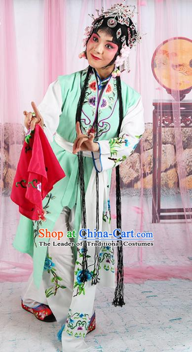 Chinese Beijing Opera Actress Young Lady Embroidered Costume, China Peking Opera Servant Girl Embroidery Clothing