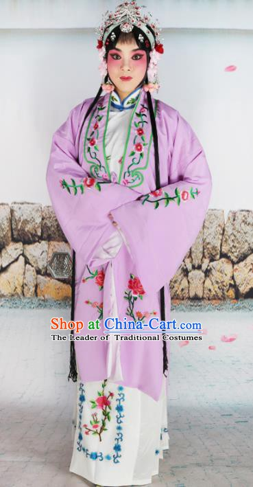 Chinese Beijing Opera Actress Nobility Lady Embroidered Purple Costume, China Peking Opera Diva Embroidery Clothing