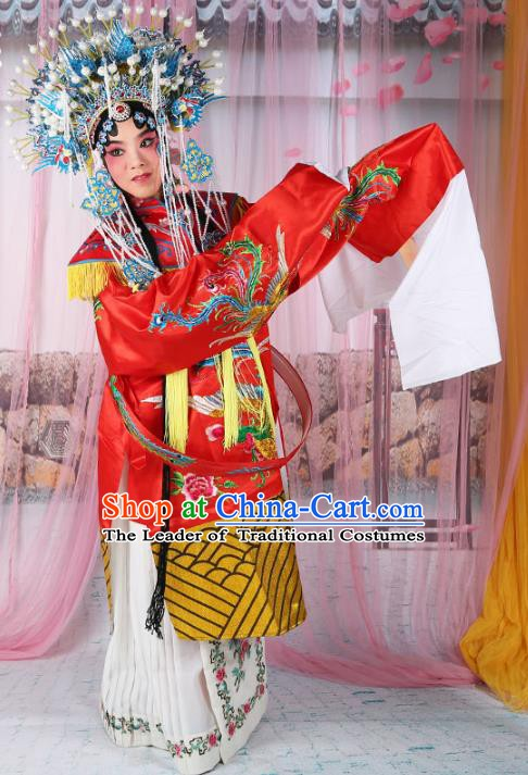 Chinese Beijing Opera Imperial Concubine Costume Embroidered Robe, China Peking Opera Actress Embroidery Red Clothing