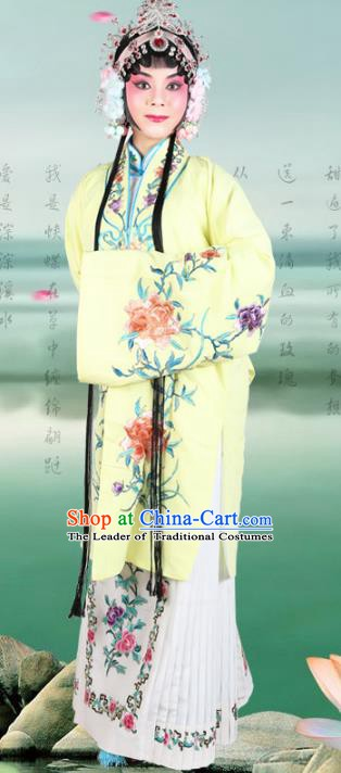 Chinese Beijing Opera Actress Embroidered Flowers Yellow Costume, China Peking Opera Diva Embroidery Clothing