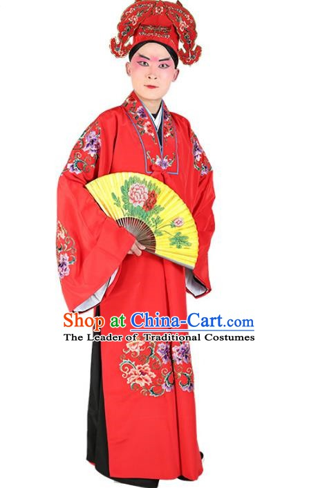 Chinese Beijing Opera Young Men Niche Costume Embroidered Robe, China Peking Opera Scholar Red Clothing