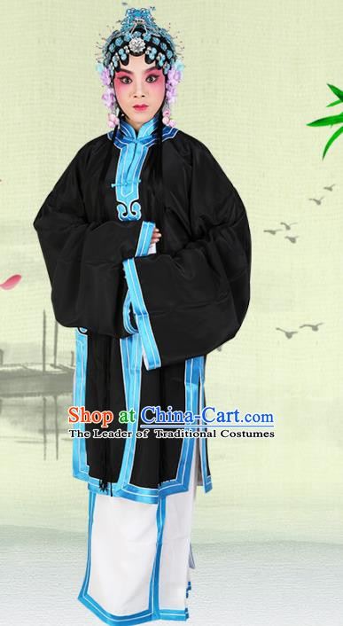 Chinese Beijing Opera Actress Young Lady Black Cape Costume, China Peking Opera Tsingyi Embroidery Clothing