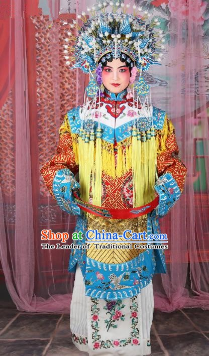 Chinese Beijing Opera Actress Imperial Concubine Costume Embroidered Robe, China Peking Opera Diva Clothing and Phoenix Coronet