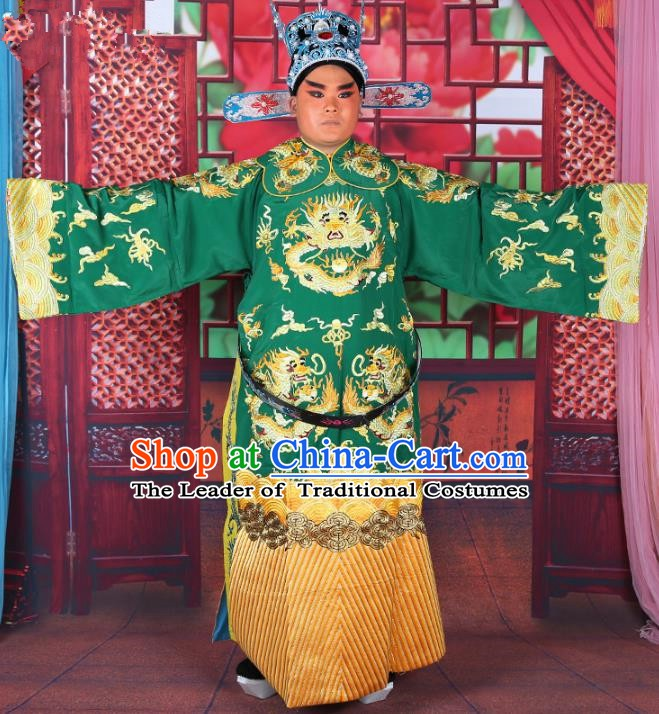 Chinese Beijing Opera Young Men Costume Green Embroidered Robe, China Peking Opera Minister Clothing