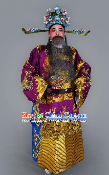 Chinese Beijing Opera Bao Zheng Costume Purple Embroidered Robe, China Peking Opera Prime Minister Embroidery Dragon Gwanbok Clothing