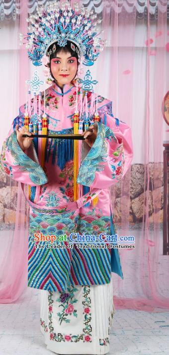 Chinese Beijing Opera Actress Palace Lady Costume Pink Embroidered Robe, China Peking Opera Imperial Concubine Embroidery Clothing