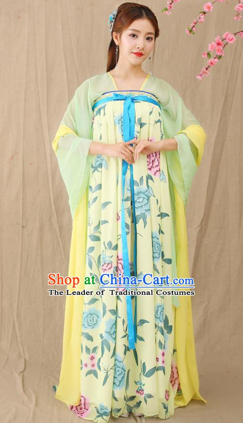 Traditional Chinese Tang Dynasty Palace Princess Costume, China Ancient Fairy Hanfu Dress Clothing for Women
