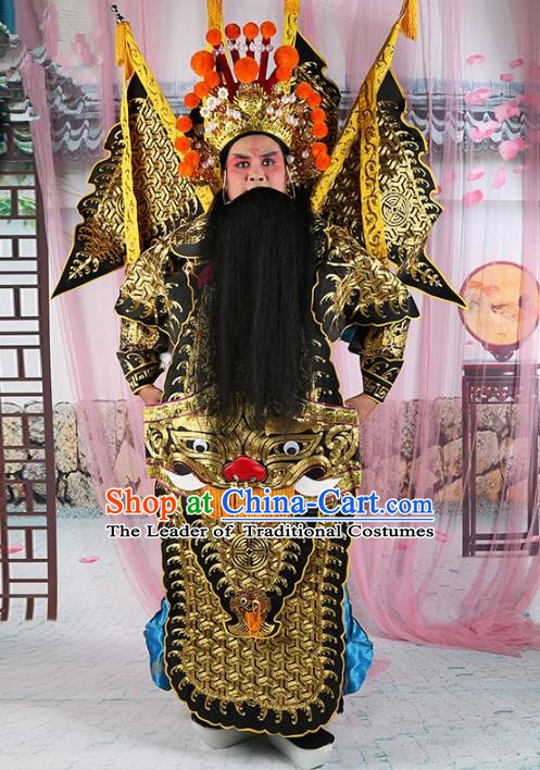 Chinese Beijing Opera General Costume Black Embroidered Robe, China Peking Opera Military Officer Embroidery Gwanbok Clothing