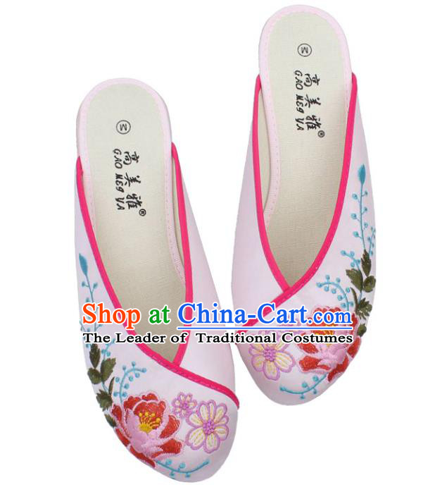 Traditional Chinese National Bride Light Pink Satin Embroidered Shoes, China Handmade Embroidery Peony Hanfu Slippers for Women