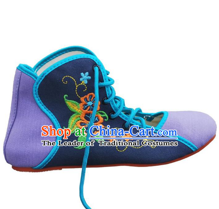 Traditional Chinese National Bride Navy Embroidered Shoes, China Handmade Embroidery Flowers Plimsolls for Women