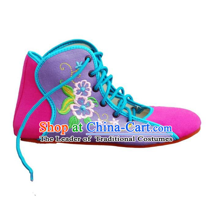 Traditional Chinese National Bride Purple Embroidered Shoes, China Handmade Embroidery Flowers Plimsolls for Women