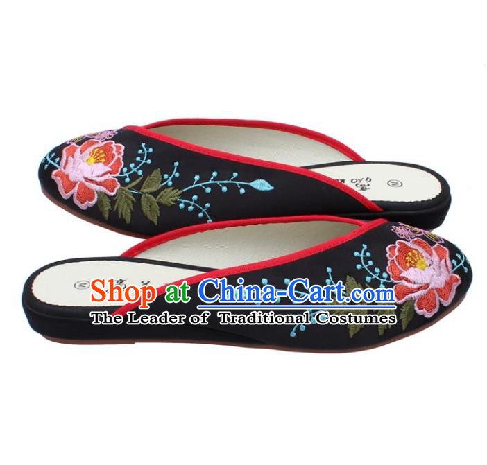 Traditional Chinese National Black Embroidered Shoes, China Handmade Embroidery Peony Hanfu Cloth Slippers for Women