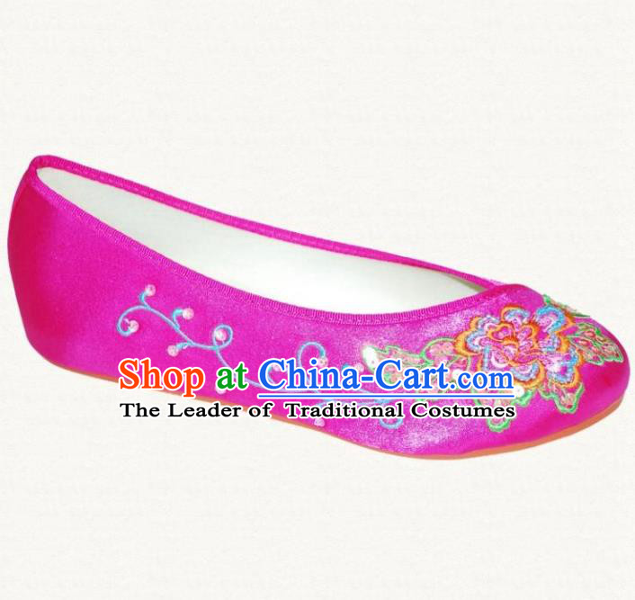 Traditional Chinese National Bride Rosy Embroidered Shoes, China Handmade Embroidery Flowers Hanfu Cloth Shoes for Women