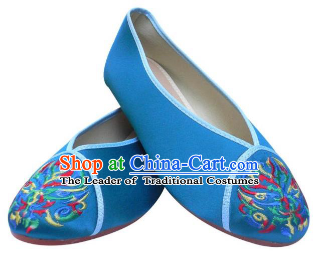 Traditional Chinese National Bride Blue Embroidered Shoes, China Handmade Embroidery Hanfu Cloth Shoes for Women