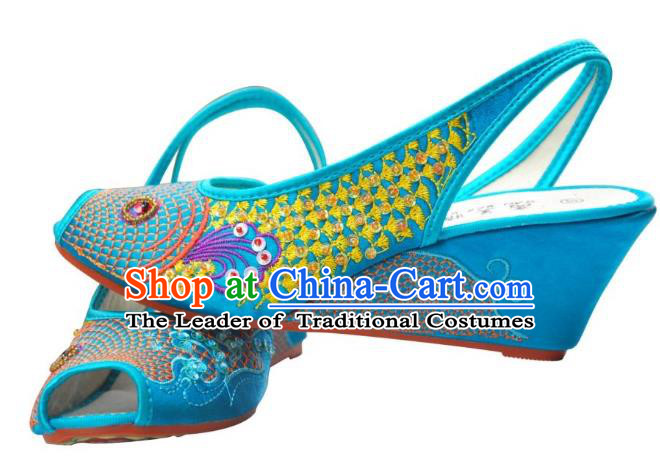 Traditional Chinese National Bride Blue Embroidered Sandal, China Handmade Embroidery Hanfu Wedge-soled Shoes for Women
