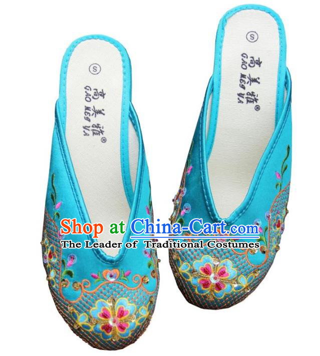 Traditional Chinese National Bride Blue Paillette Embroidered Slippers, China Handmade Embroidery Flowers Hanfu Shoes for Women