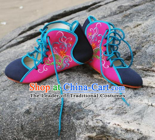 Traditional Chinese National Bride Embroidered Rosy Canvas Shoes, China Handmade Embroidery Flowers Plimsolls for Women