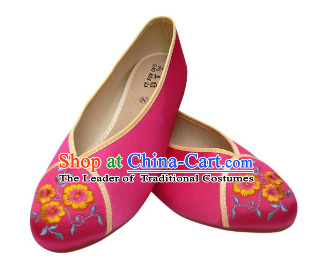 Traditional Chinese National Bride Rosy Cloth Embroidered Shoes, China Handmade Embroidery Flowers Hanfu Shoes for Women