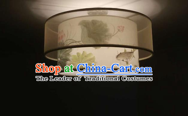 Traditional Chinese Handmade Sheepskin Painting Lotus Fish Palace Lantern China Ceiling Palace Lamp
