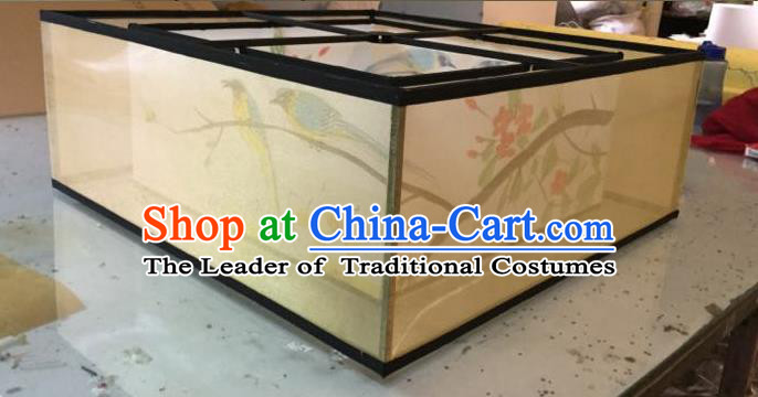 Traditional Chinese Handmade Sheepskin Painting Wintersweet Birds Palace Lantern China Ceiling Square Palace Lamp