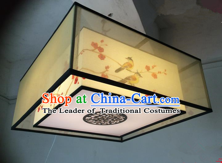 Traditional Chinese Handmade Sheepskin Painting Magpie Wintersweet Palace Lantern China Ceiling Square Palace Lamp
