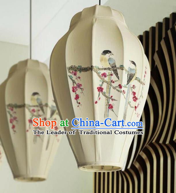 Traditional Chinese Handmade Painting Birds Palace Lantern China Desk Palace Lamp