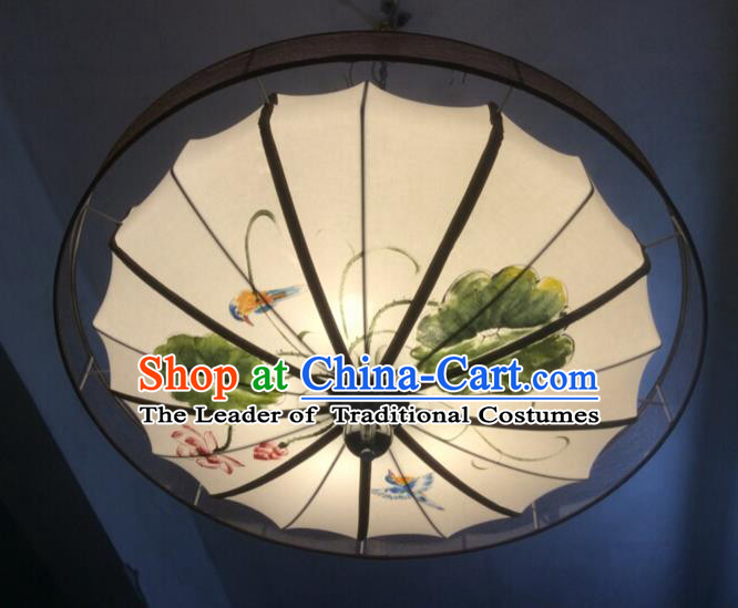 Traditional Chinese Handmade Painting Lotus Birds Palace Lantern China Ceiling Palace Lamp